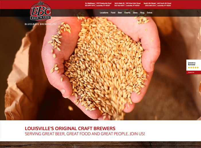 Louisville web design portfolio : Bluegrass Brewing Co.