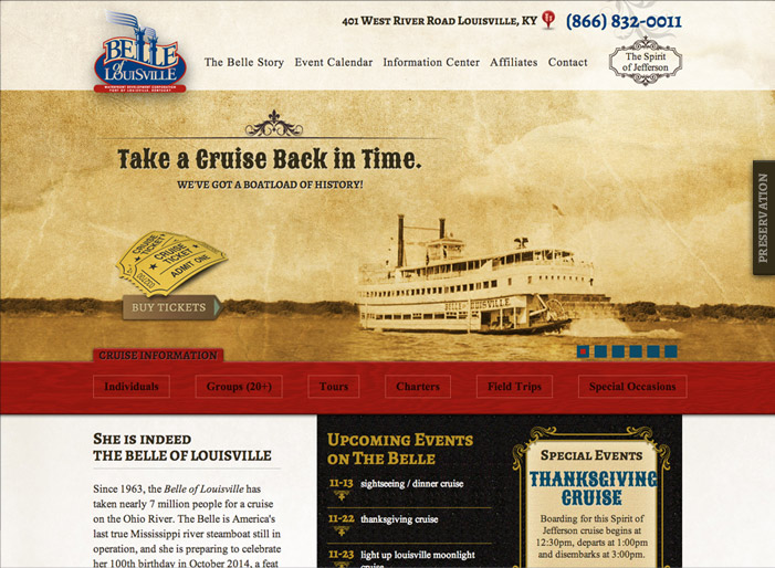 Louisville web design portfolio : Belle of Louisville