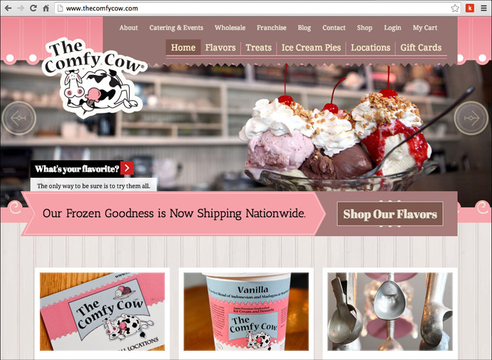 Louisville web design portfolio : The Comfy Cow