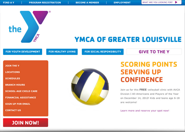 Louisville web design portfolio : YMCA